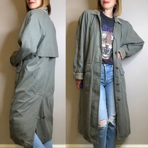 Vintage army green utility duster coat corduroy S